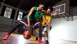 Metal building indoor basketball court