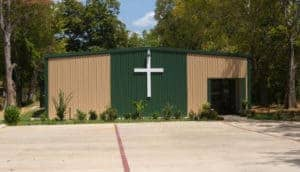 Metal structure church front view