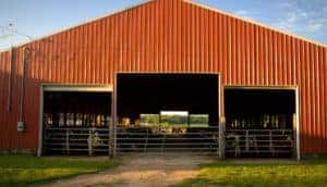 Wide frontage metal barn