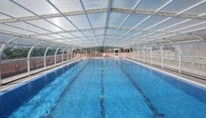 Metal covered lap pool