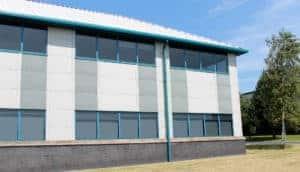 Metal school building sideview