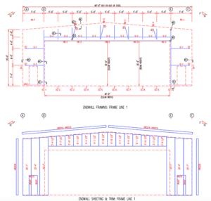 Steel building end wall sheet & frame measurements